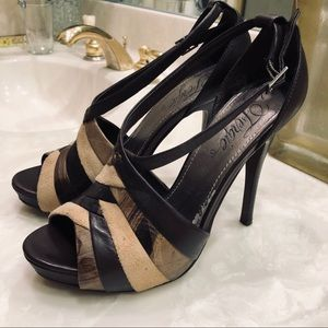 Fergie heeled sandals, brown & tan leather, Sz 8.5